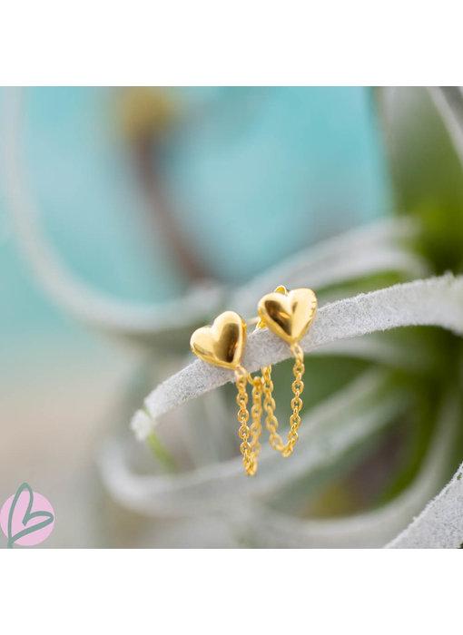 KARMA Goud oorstekers met ketting chain en hart