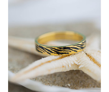 IXXXI aanschuifring 4mm zebra goud