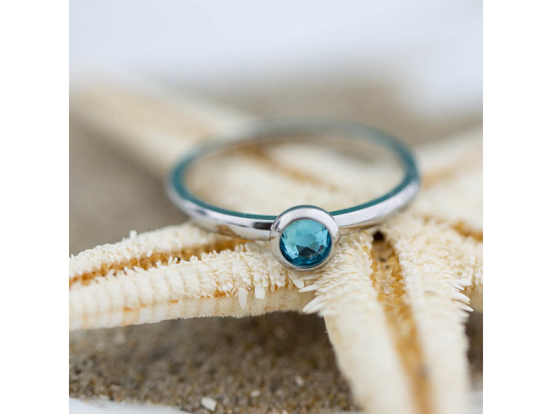 IXXXI aanschuif ring zilver blue water 2mm