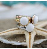IXXXI aanschuif ring zilver 4mm witte steen