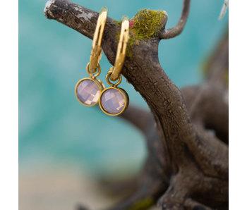 IXXXI Gouden oorringen met verwisselbare roze topparts