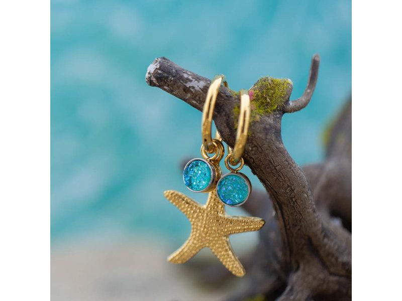 IXXXI Gouden creolen oorringen met verwisselbare blauwe steentjes en zeester