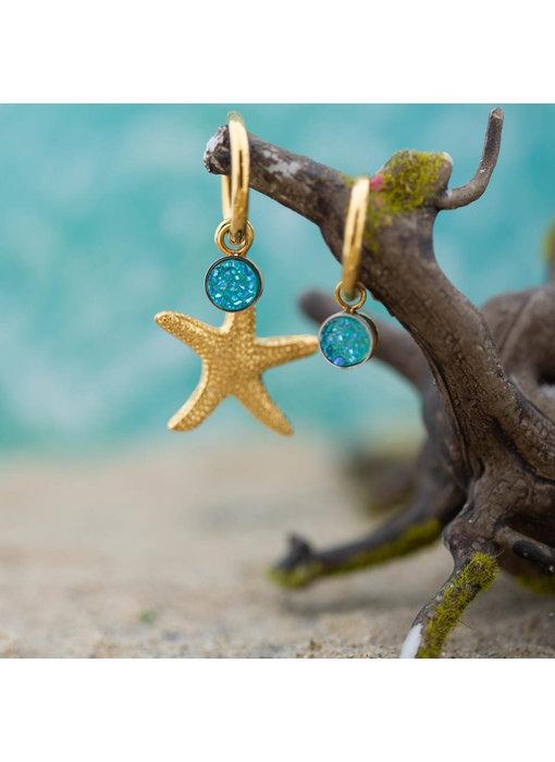 IXXXI Gouden creolen oorringen met blauwe steen en zeester