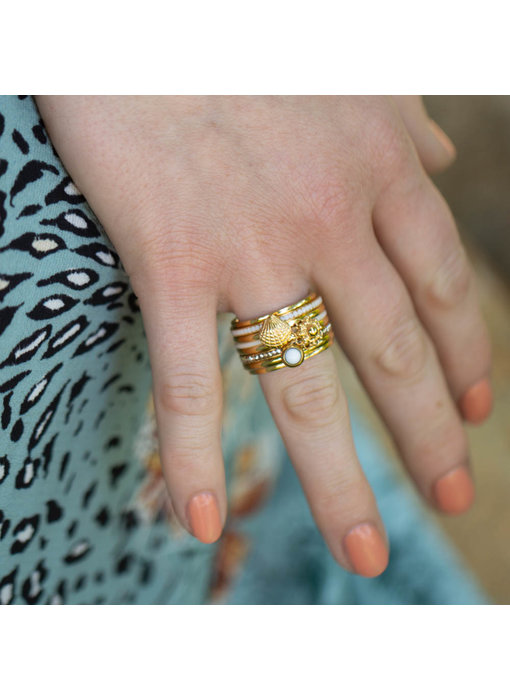 IXXXI Complete ring Ixxxi goud yellow shell en knop