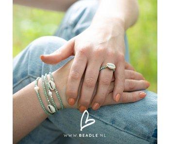 Beadle Mintgroen schelp ring