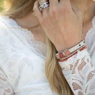 Beadle Leren armband met schuivers roze
