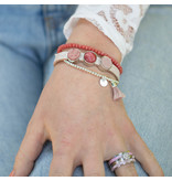 Beadle Leren armband met schuivers set roze