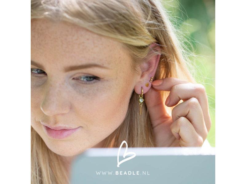 Go Dutch Label go dutch label goud oorringen met crystal steen  staafje