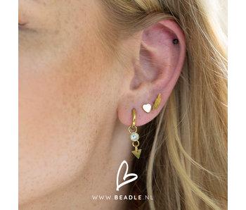 Go Dutch Label go dutch label goud oorringen met crystal steen en driehoek