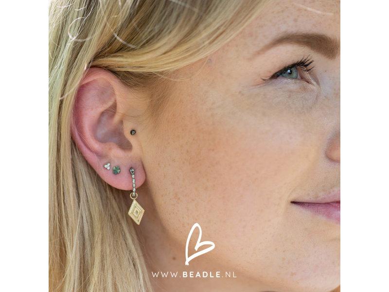 Go Dutch Label Bolletjes oorringen creolen zilver met goud ruitje bedel
