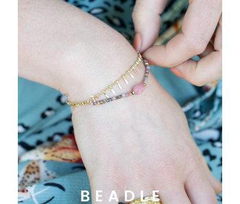 Beadle Goud dubbele armband met roze nude steen