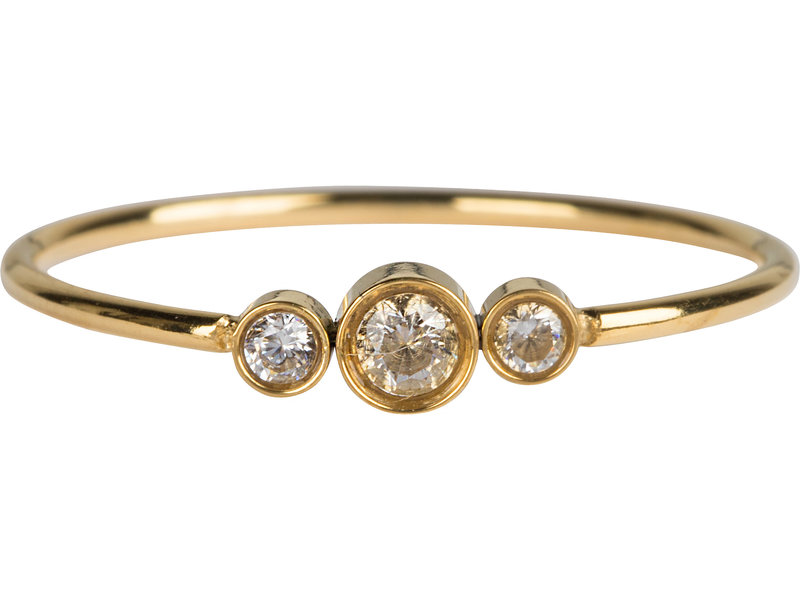 Charmins Ring staal shiny crystal triplet