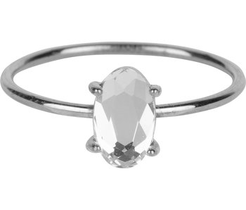 Charmins Ring big crystal stone zilver