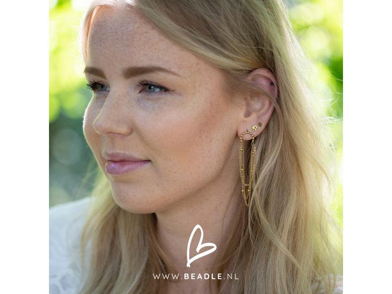 Go Dutch Label Goudkleurige oorstekers wereldbol