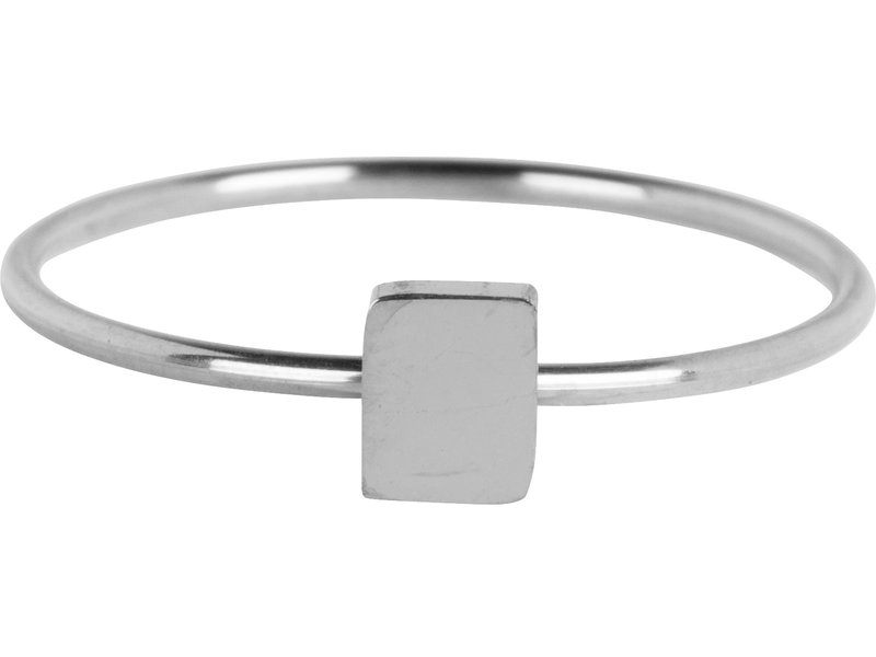 Charmins Minimalist Rectangle Shiny Steel Charmins stapelring zilver