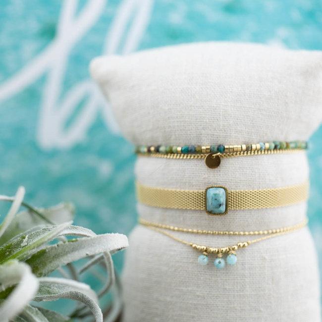 ZAG  Bijoux Goud armband matje met turquoise steen