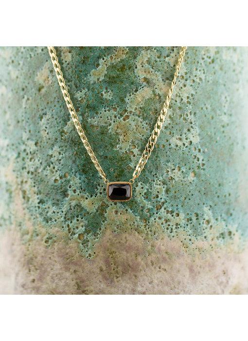 ZAG  Bijoux Goud schakelketting met zwarte onyx steen