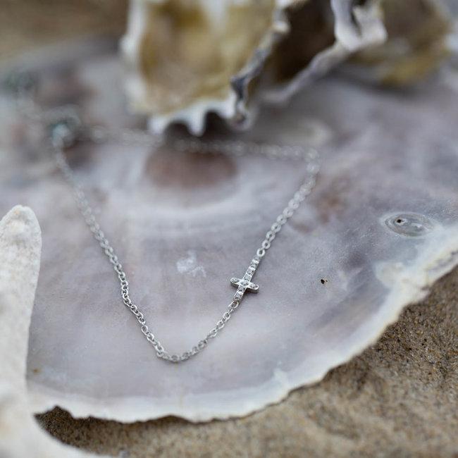 Go Dutch Label Zilver armband met zonnestralen of crystal kruis