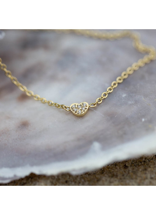 Go Dutch Label goud armband met mini crystal hart