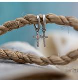 Go Dutch Label Zilver oorringen met crystal kruisje