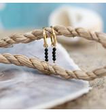 Go Dutch Label goud oorringen met zwarte steentjes