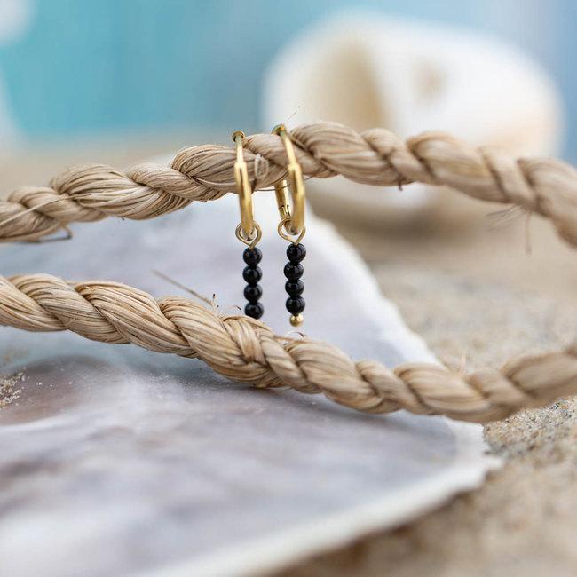 Go Dutch Label Creolen goud oorringen met zwarte steentjes