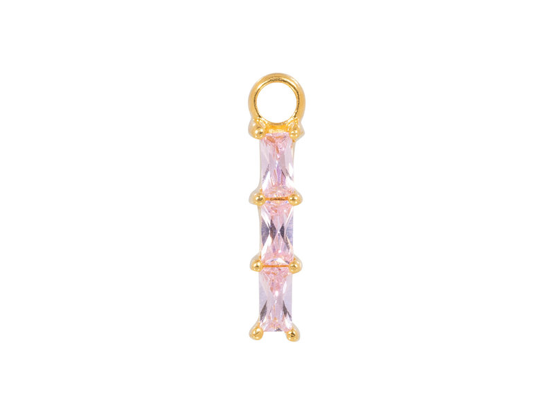 Eline Rosina Mix en match goud hanger met vierkante roze steentjes