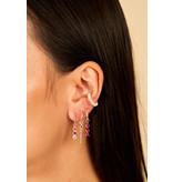 Eline Rosina Mix en match zilver hanger met vierkante roze steentjes