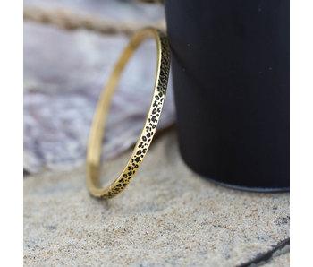 KalliKalli Goud stalen armband met tijgerprint