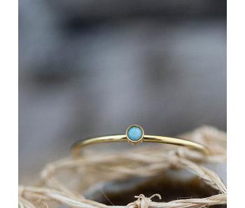 Charmins Stylish shine bright turquoise goud ring