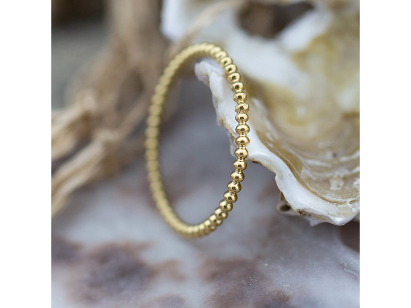 Charmins Stalen gouden ring bolletjes