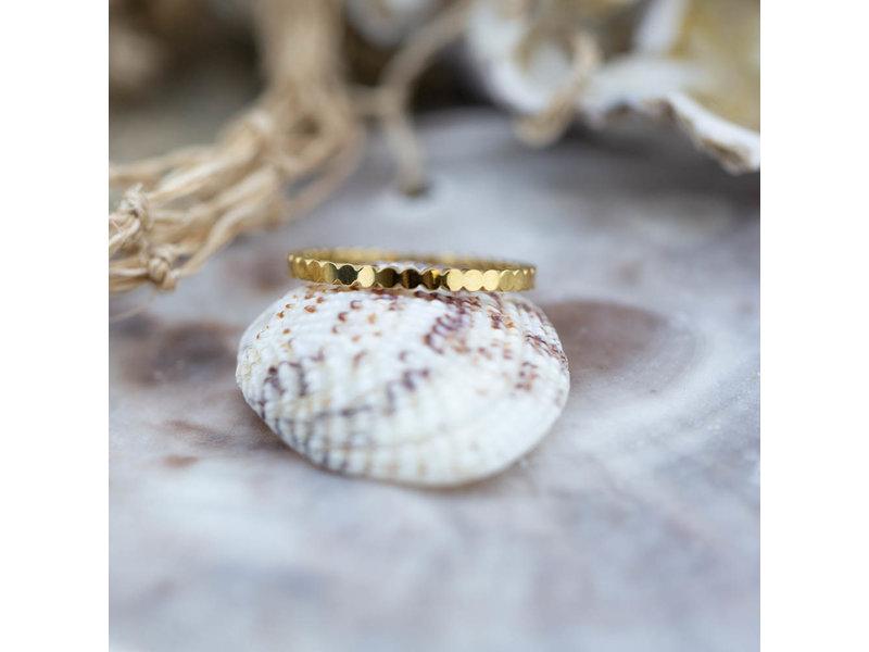 Charmins Stalen gouden ring flat circle