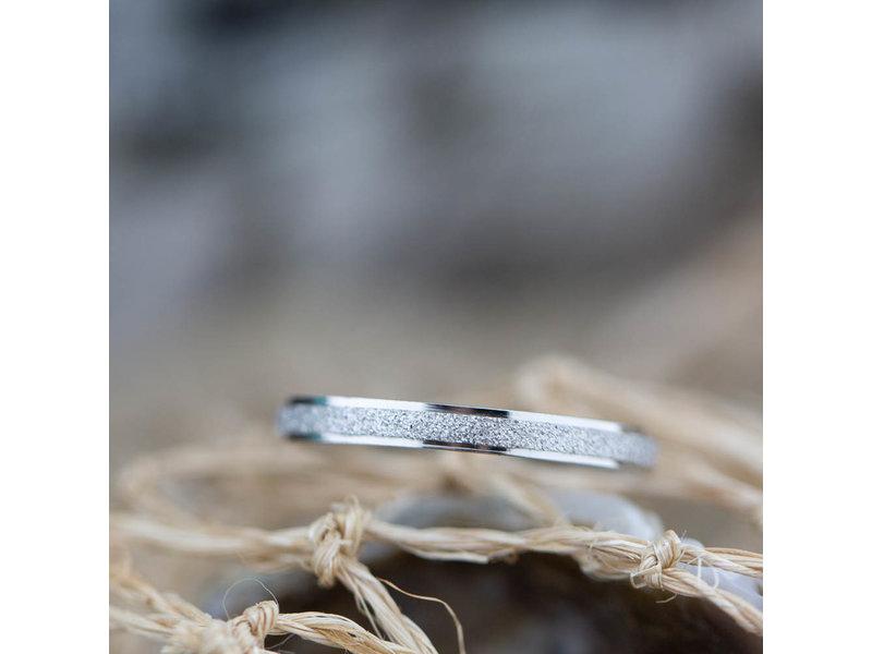 Charmins Stalen zilver ring sanded shiny steel