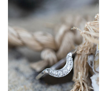Charmins Stapelring zilver half moon crystal