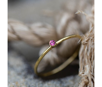 Charmins Ring goud roze steentje