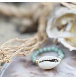 Beadle Mint groen schelp ring