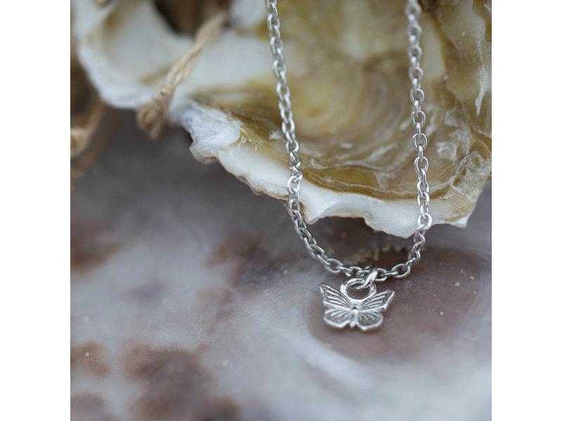 KARMA Echt zilver ketting met vlinder