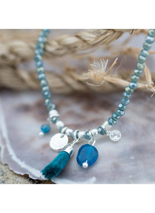 Biba Armband turquoise met kwastje
