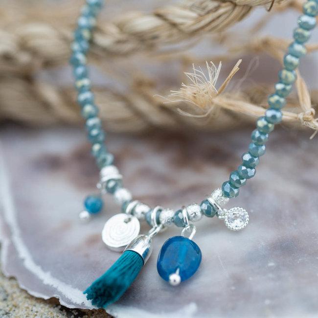 Biba Armband turquoise met kwastje en muntje