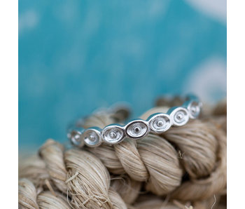 Beadle smalle stalen ring ovaal zilver
