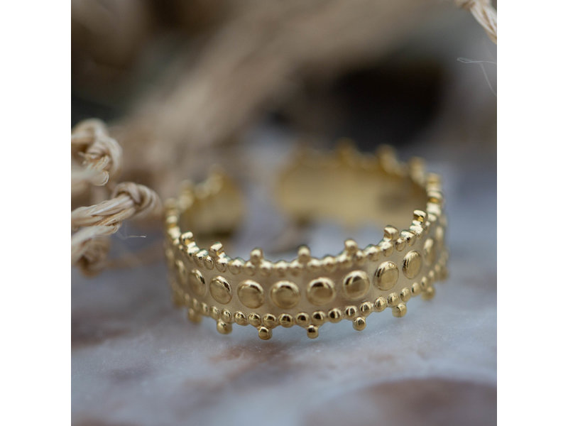 Beadle goud stalen ring met kroontje