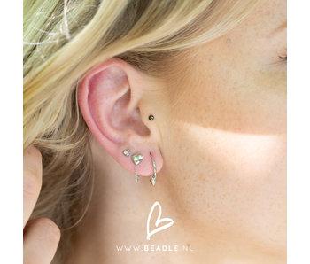 KARMA Zilver oorstekers met ketting chain en hart
