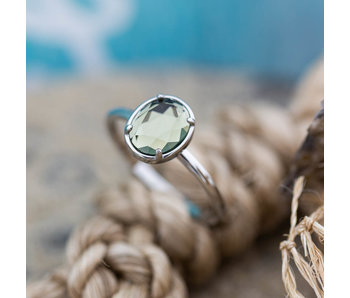 IXXXI Glam Oval crystal facet steen  zilver ring