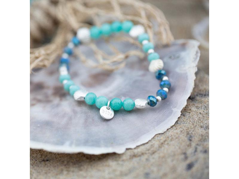 Biba Kralenarmband  turquoise blauw schelpjes