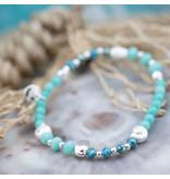 Biba Kralenarmband  turquoise blauw schelpjes zilver