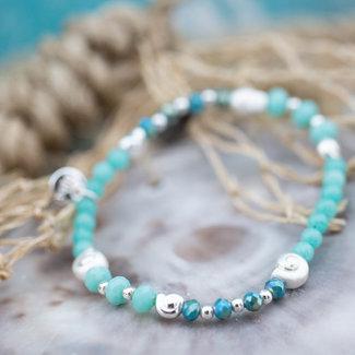 Biba Kralenarmband turquoise blauw zilver