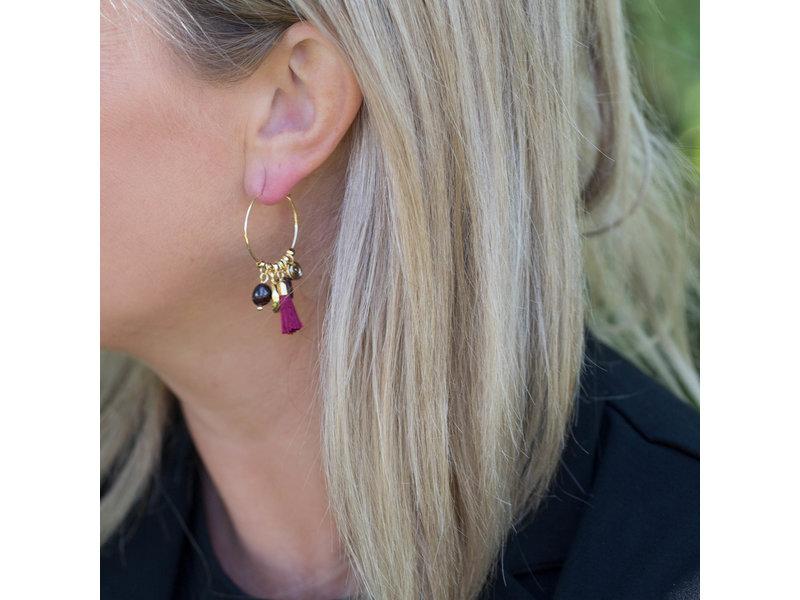 Biba Goud oorrring in rood aubergine kleur