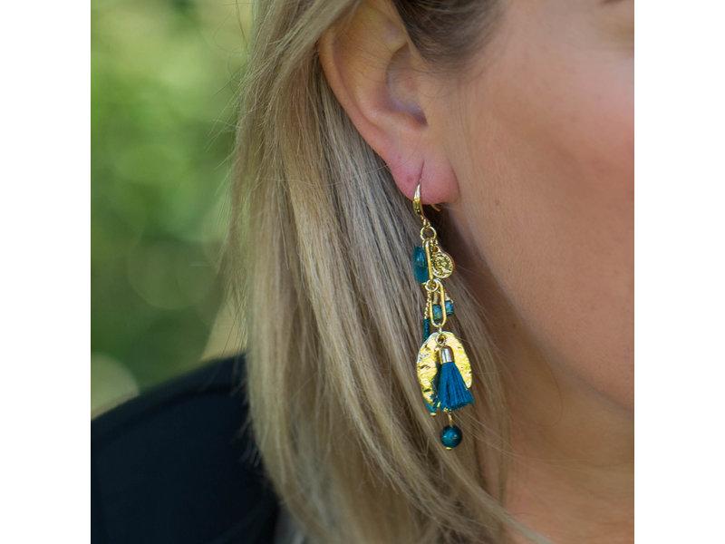Biba Goud oorhangers met zeeblauwe  hangers
