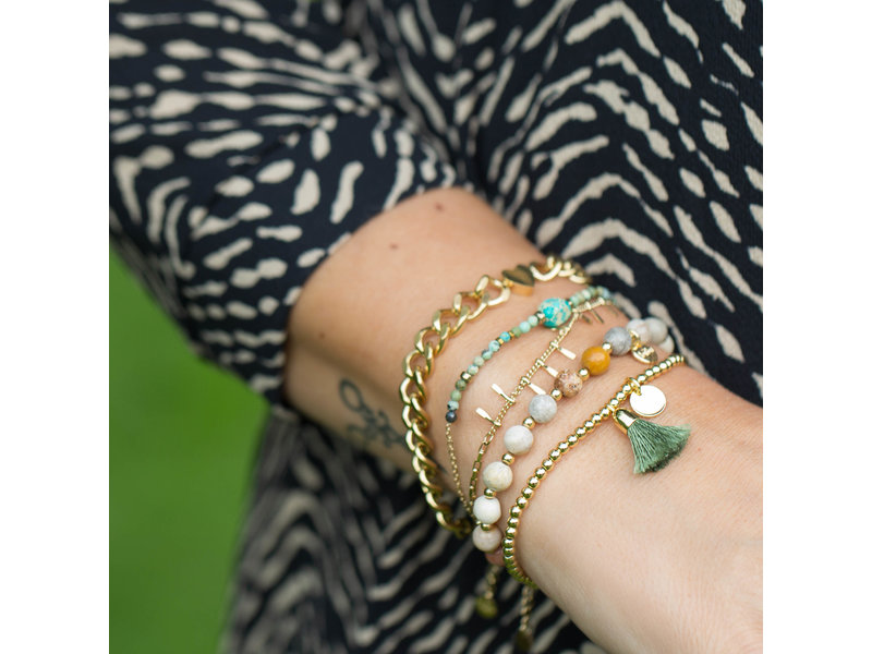 Beadle Turquoise armband met druppeltjes