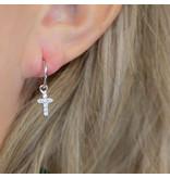 KARMA karma zilver oorbellen met kruis en zirconiasteentjes